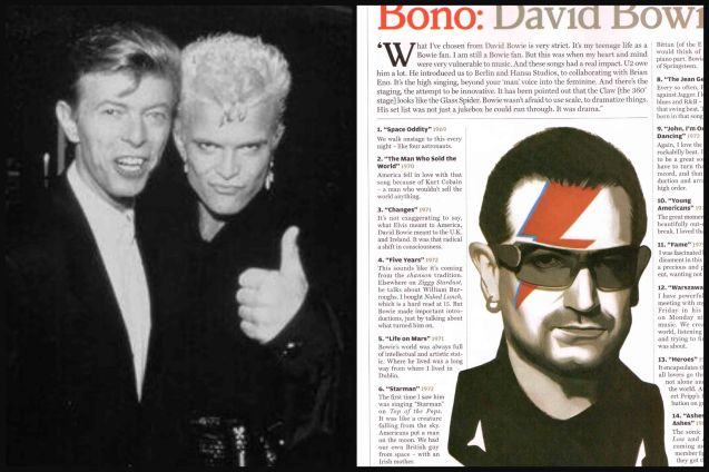 from left: David with Billy Idol and Bono's David Bowie Playlist.