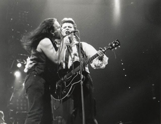 David jams during U2's Rattle and Hum tour 1988.