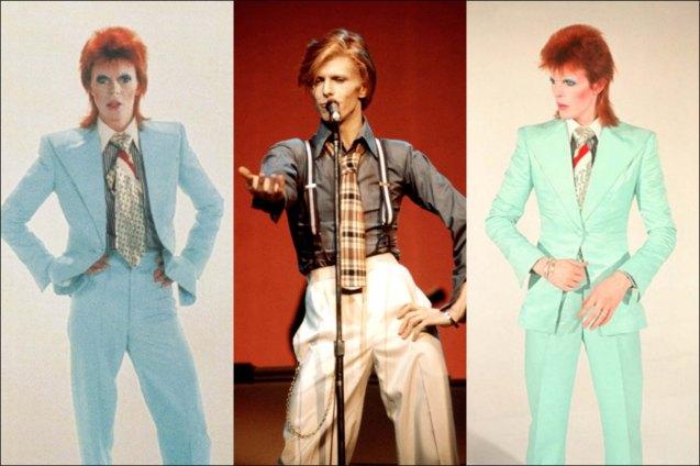 Bowie wears aqua blue suits by Freddi Buretti