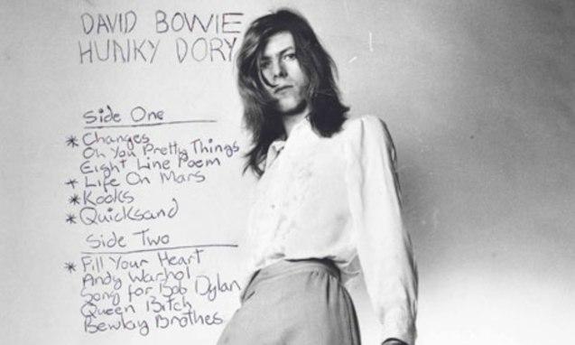 Bowie wears a Michael Fish design