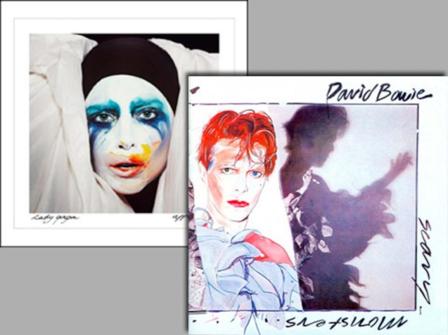 right: Even Bowie's Scary Monsters (and Super Creeps) album cover from 1980 has been a source of inspiration for Lady Gaga.