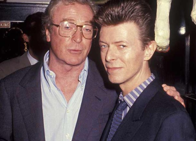 from left: Michael Caine and David Bowie were cast mates in THE PRESTIGE (2006).