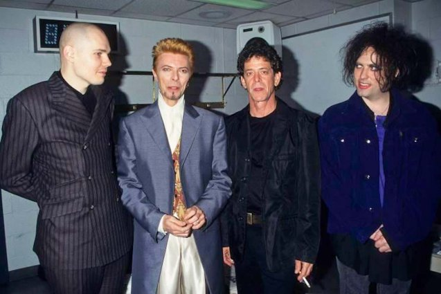 from left: Billy Corgan (Smashing Pumpkins), David Bowie, Lou Reed and Robert Ian Smith (The Cure) at the tribute concert for David at the Madison Square Garden 1997.