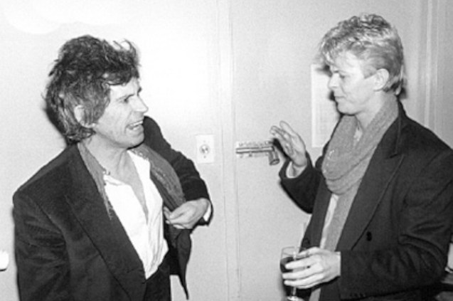 from left: Keith Richards and David Bowie.