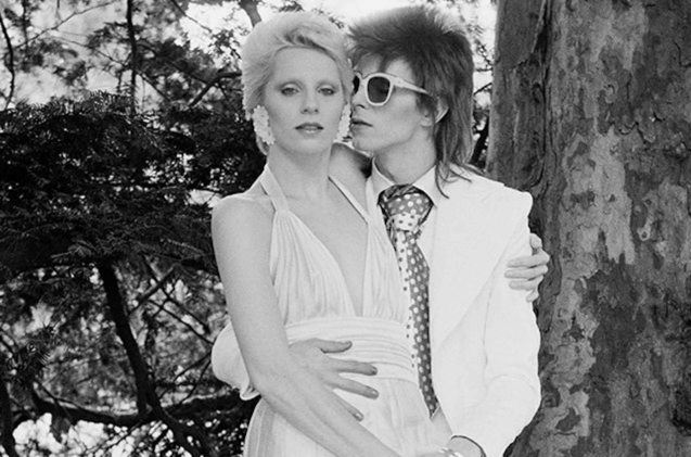 David with first wife Angie Barnett Bowie. She encouraged David to wear women's clothing to stand out as a musician.