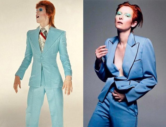 left: Bowie wears aqua blue suit by Freddi Buretti copied by Oscar winner Tilda Swinton