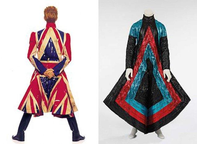 Bowie wears Japanese designer Kansai Yamamoto's creation.