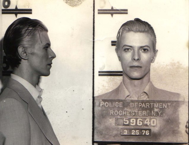 David Bowie was arrested for marijuana possession in Rochester New York, March 21, 1976.