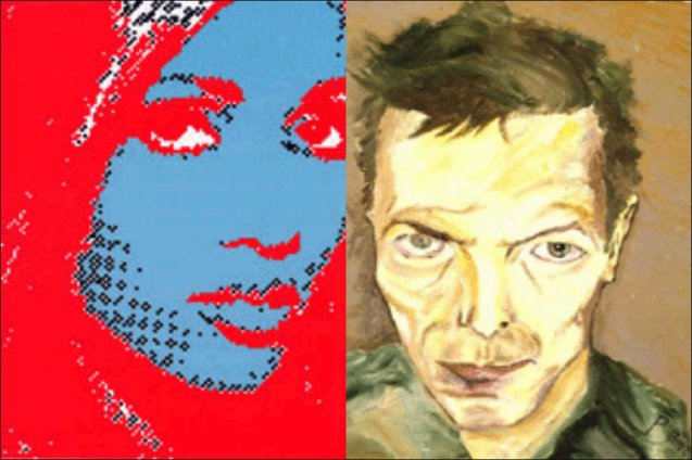 Bowie's artworks includes prints (left) Iman, 1998 Lithograph on Somerset paper, 24 x 20 cm (right) Self Portrait (Mustique), 2002 Lithograph on Fabriano paper, 24 x 19 cm photo from http://www.bowieart.com/