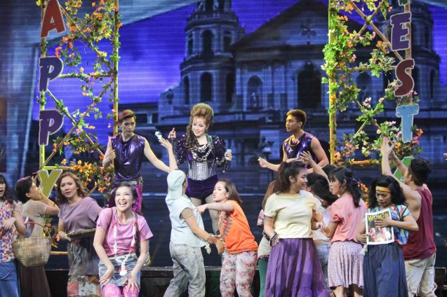 The Quiapo Church is the backdrop to Cris Villonco's concert (as Lavinia). BITUING WALANG NINGNING is running at the Newport Performing Arts Theater, Resorts World Manila until January 31, 2016. Photo by Jude Bautista