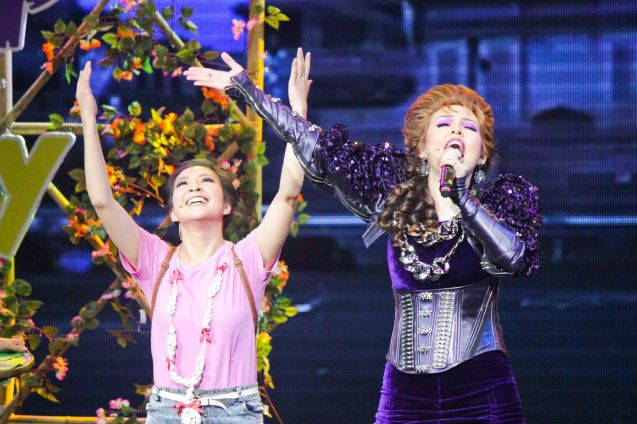 from left: Monica Cuenco (Dorina) & Cris Villonco (Lavinia); BITUING WALANG NINGNING is running at the Newport Performing Arts Theater, Resorts World Manila until January 31, 2016. Photo by Jude Bautistafrom left: Monica Cuenco (Dorina) & Cris Villonco (Lavinia); BITUING WALANG NINGNING is running at the Newport Performing Arts Theater, Resorts World Manila until January 31, 2016. Photo by Jude Bautista