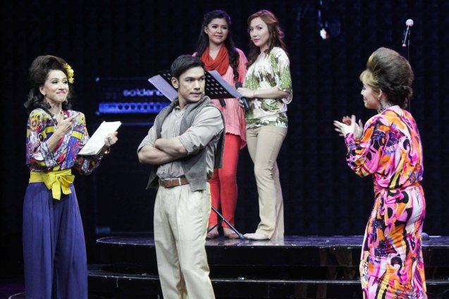 from left: Menchu L Yulo (Edith), Mark Bautista (Nico) & Cris Villonco (Lavinia). BITUING WALANG NINGNING is running at the Newport Performing Arts Theater, Resorts World Manila until January 31, 2016. Photo by Jude Bautista