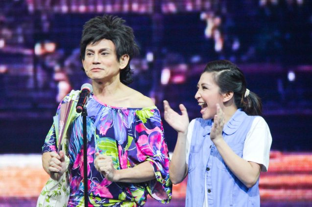 Jon Santos (Auntie) & Monica Cuenco (Dorina Pineda). BITUING WALANG NINGNING is running at the Newport Performing Arts Theater, Resorts World Manila until January 31, 2016. Photo by Jude Bautista