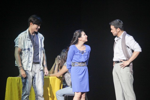 from left: Ronnie Liang (Garrie), Monica Cuenco (Dorina) & Mark Bautista (Nico). BITUING WALANG NINGNING is running at the Newport Performing Arts Theater, Resorts World Manila until January 31, 2016. Photo by Jude Bautista
