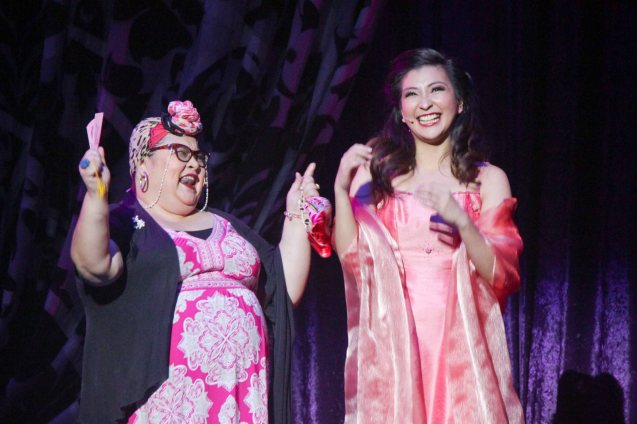 from left: Irene Delarmente (Vocal Coach) & Monica Cuenco (Dorina). BITUING WALANG NINGNING is running at the Newport Performing Arts Theater, Resorts World Manila until January 31, 2016. Photo by Jude Bautista