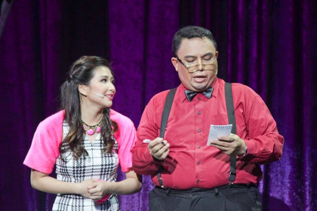 from left: Monica Cuenco (Dorina) & Red Nuestro (Diction Coach). BITUING WALANG NINGNING is running at the Newport Performing Arts Theater, Resorts World Manila until January 31, 2016. Photo by Jude Bautista