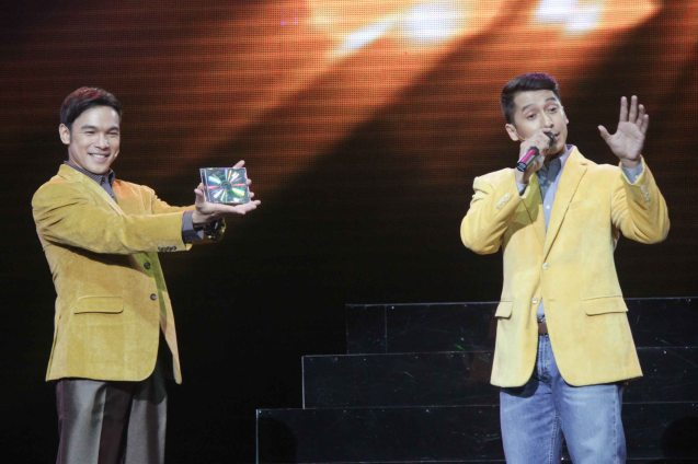from left: Mark Bautista (Nico Escobar) & Jay Roa (Zosimo Blanco). BITUING WALANG NINGNING is running at the Newport Performing Arts Theater, Resorts World Manila until January 31, 2016. Photo by Jude Bautista