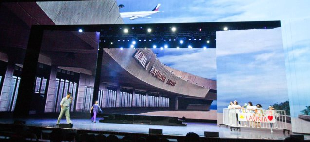A Philippine Airlines 787 Dreamliner flies overhead during the airport scene complete with jet engines roaring. The enormous LED screen allows for effects that create a more realistic setting. BITUING WALANG NINGNING is running at the Newport Performing Arts Theater, Resorts World Manila until January 31, 2016. Photo by Jude Bautista