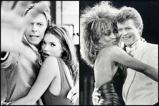 David Bowie with left: Kate Moss, right: Tina Turner