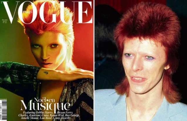 Supermodel Kate Moss as Ziggy Stardust on Vogue cover