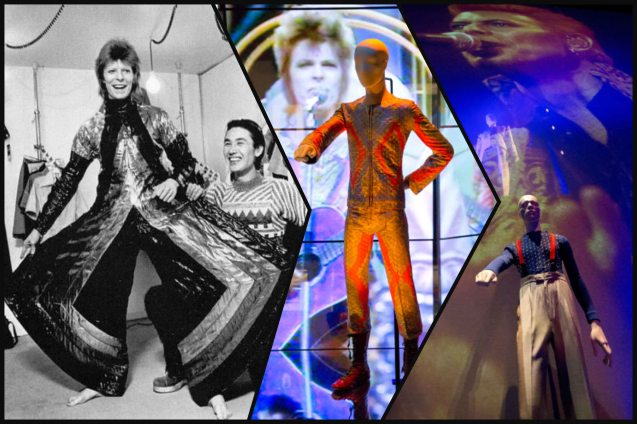 left: Bowie with designer Kansai Yamamoto, right: images from the DAVID BOWIE IS exhibit which has toured the most prestigious museums around the world since 2013.