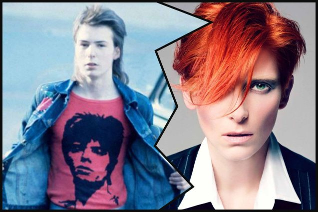 left: young Sid Vicious (of the Sex Pistols-creator of PUNK) shows off his David Bowie t-shirt. Right: Oscar winner Tilda Swinton idolized David Bowie and touted that they look alike.