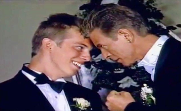 David and son Duncan Jones who became best man at the wedding with Iman 1992