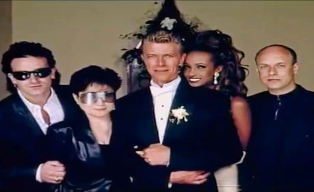 from left: Bono Vox, Yoko Ono, David Bowie, Iman and Brian Eno