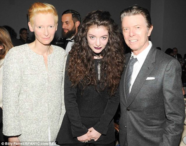 from left: Tilda Swinton, Lorde and David, the reception was for pal Tilly.
