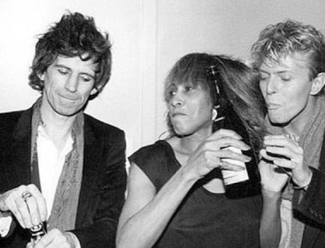 from left: Keith Richards, Tina Turner and David Bowie