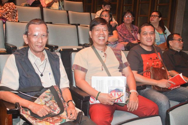 Writers row from left: Amadis Ma. Guerrero, Danny Vibas and TV5 Creative Consultant & Playwright Elmer Gatchalian. TP's MABINING MANDIRIGMA is running from February 19 to March 13, 2016 at the Tanghalang Aurelio Tolentino , CCP with shows at 3pm and 8 pm. Photo by Jude Bautista