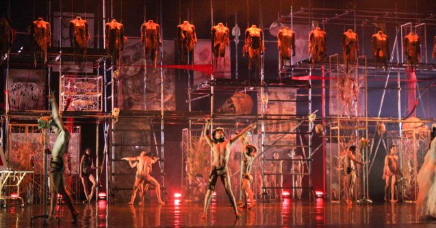 BP dancers w Gabriel Barredo installation on stage. BP presents Gabriel Barredo's OPERA choreography by Redha- Feb 13, 14, 16, 2016. Tanghalang Nicanor Abelardo, CCP Main Theater. Photo by Jude Bautista