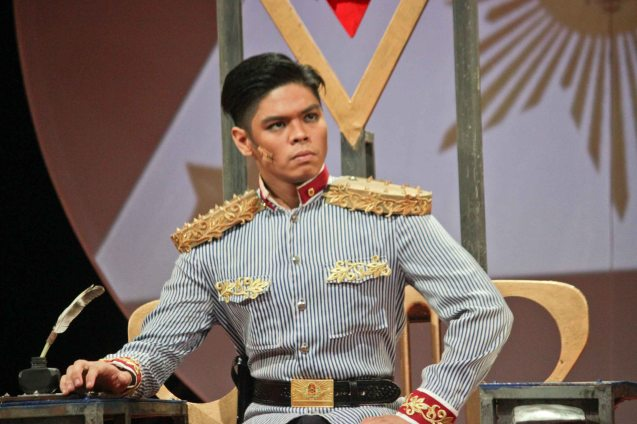 Arman Ferrer as Pres. Emilio Aguinaldo; TP's MABINING MANDIRIGMA is running from February 19 to March 13, 2016 at the Tanghalang Aurelio Tolentino , CCP with shows at 3pm and 8 pm. Photo by Jude Bautista