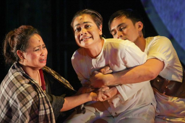 from left: Carol Bello (Dionisia), Delphine Buencamino (Apolinario Mabini) & Marco Viaña (Pule). TP's MABINING MANDIRIGMA is running from February 19 to March 13, 2016 at the Tanghalang Aurelio Tolentino , CCP with shows at 3pm and 8 pm. Photo by Jude Bautista