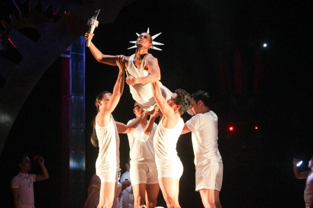 Ronelson Yadao (Dancer) as the Statue Of Liberty; TP's MABINING MANDIRIGMA is running from February 19 to March 13, 2016 at the Tanghalang Aurelio Tolentino , CCP with shows at 3pm and 8 pm. Photo by Jude Bautista