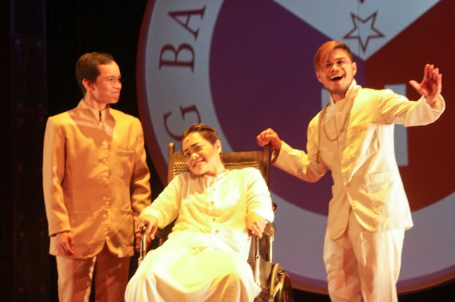 from left: Aldo Vencilao (Pepe), Delphine Buencamino (Apolinario Mabini) & Ck Español (Padre Valerio Malabanan / Trias). TP's MABINING MANDIRIGMA is running from February 19 to March 13, 2016 at the Tanghalang Aurelio Tolentino , CCP with shows at 3pm and 8 pm. Photo by Jude Bautista