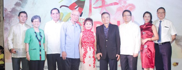 from left: ADMU Ricardo Leong Center Dir. Sidney Christopher Bata, Movement for Restoration of Peace and Order (MRPO) founding Chair Teresita Ang See, ADMU VP for Univ.& Global Relations Fr. Joey Cruz, Gawad Kalinga (GK) Board Member Fr. Ben Nebres, Dr. Rosita Leong, Ricardo Leong founder of Ricardo Leong Center for Chinese Studies, ADMU Pres. Fr. Jett Villarin, Confucius Inst. Chinese Director Cynthia Liang and Intl Studies for Chinese Arts Pres. George Uy. Watch COMING HOME for free during the 10th Spring Film Festival at the Shang Cineplex, Shang Rila Plaza Mall from January 29-February 7, 2016.  Photo by Jude Bautista