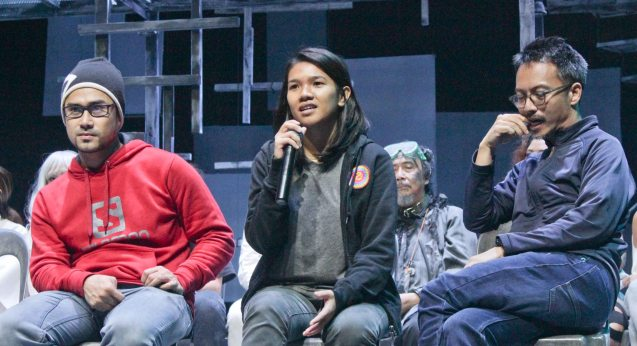 from left: Musical Director Myke Salomon, Playwright Mixkaela Villalon & Director Nor Domingo. Watch 3 STARS & A SUN Musical based on Francis Magallona's Music at the PETA Theater Center from February to March 2016. Photo by Jude Bautista