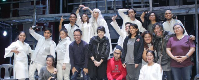 Bottom Row: Raflesia Bravo (Yaya), Ian Segarra (Ensemble), Anna Luna (Nazty)-seated, Nica Santiago (Ensemble), Director Nor Domingo, Pia Magallona, Musical Dir Myke Salomon-seated, Paolo Valenciano (Chino), Playwright Mixkaela Villalon, EJ Pepito (Kat), Gab Pangilinan (Chelsea)-seated, Bodjie Pascua (Mang Okik), Sound designer Teresa Barrozo, Top Row: Nar Cabico (Poy), Giannina Ocampo (Dianne), Che Ramos Cosio (Grand Vidame Inky), Jeff Flores (Winston), Nicco Manalo (Sol) and Jason Barcial (Bogs). Watch 3 STARS & A SUN Musical based on Francis Magallona's Music at the PETA Theater Center from February to March 2016. Photo by Jude Bautista