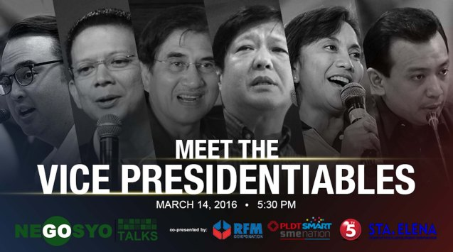 On its 10th year, #GoNegosyo is mounting the Go Negosyo Talks: Meet the Vice Presidentiables. This will give a chance for the entrepreneurs community and key enablers to meet the Vice Presidentiable candidates who will share their vision and platform for the country, particularly on economic and entrepreneurship development. The forum will be covered exclusively by TV5, in partnership with PLDT SME Nation, Smart Communications, Sta Elena Construction and Development Corporation and RFM Corporation. Entrepreneurs who wish to join may contact (02) 637-9229 or visit www.gonegosyo.net