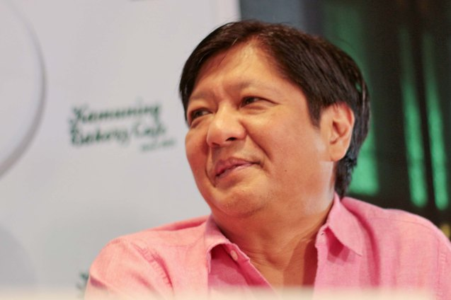Senator Bong Bong Marcos answers questions during the PANDESAL FORUM held at the Kamuning Baker Café last October 7, 2015. Photo by Chris Lucas