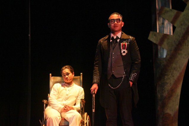 from left: Delphine Buencamino (Apolinario Mabini) & JV Ibesate (Pedro Paterno). TP's MABINING MANDIRIGMA is running from February 19 to March 13, 2016 at the Tanghalang Aurelio Tolentino , CCP with shows at 3pm and 8 pm. Photo by Jude Bautista