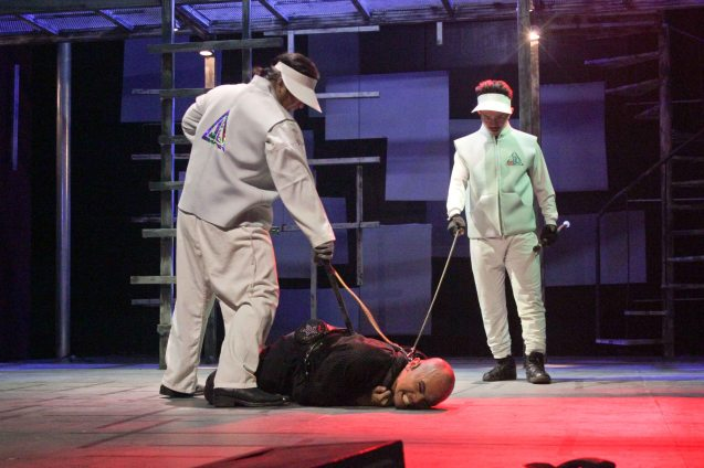 Jason Barcial (Bogs) is tortured during interrogation. 3 STARS & A SUN Musical based on Francis Magallona's Music at the PETA Theater Center. Photo by Jude Bautista