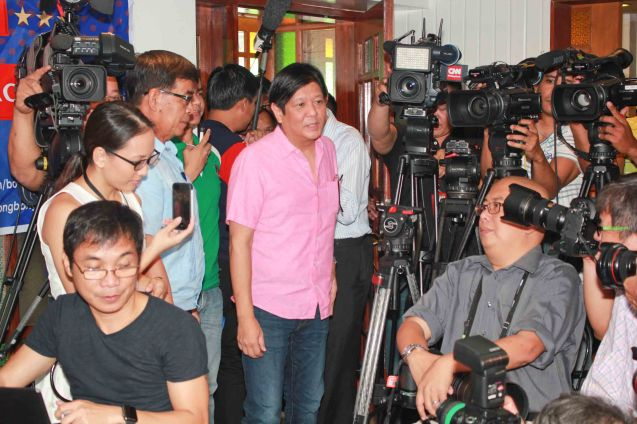 Senator Bong Bong Marcos; the PANDESAL FORUM held at the Kamuning Baker Café last October 7, 2015. Photo by Chris Lucas