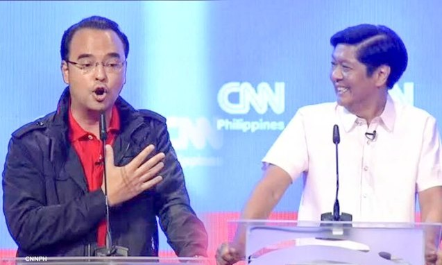 from left: Sen. Alan Peter Cayetano & Sen. Bong Bong Marcos; the VP PiliPINAS CNNphil debate was held at the UST Gymnasium last April 10, 2016. Photo from http://cnnphilippines.com/