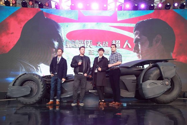 from left: Director Zack Snyder, Ben Affleck & Henry Cavill tour the Batmobile in Beijing. Catch BATMAN VS SUPERMAN DAWN OF JUSTICE in Eastwood City Mall, Lucky Chinatown Mall, Shang Cineplex- Shang Rila Plaza Mall and Newport Cinemas- Resort's World Manila. Photo from official fb page: https://www.facebook.com/batmanvsuperman/photos
