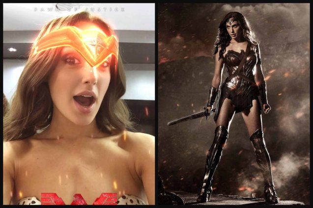 Gal Gadot models new Snapchat lens. Become #WonderWoman in the app now. Follow Gal on Snapchat: @GalGadot. Catch BATMAN VS SUPERMAN DAWN OF JUSTICE in Eastwood City Mall, Lucky Chinatown Mall, Shang Cineplex- Shang Rila Plaza Mall and Newport Cinemas- Resort's World Manila.
