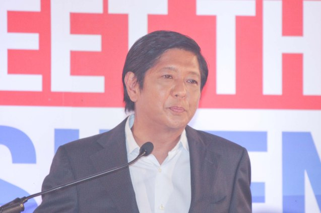 Sen. Bong bong Marcos during the Go Negosyo Talks: Meet the Vice Presidentiables at the Manila Polo Club last March 14, 2016. Photo by Jude Thaddeus Bautista