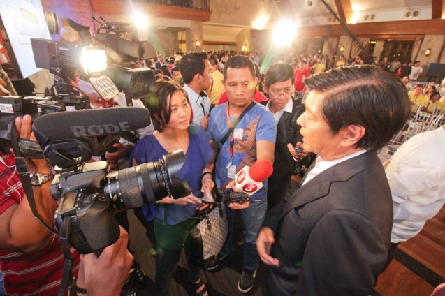 Sen. Bong bong Marcos interviewed by TV news crews during the Go Negosyo Talks: Meet the Vice Presidentiables at the Manila Polo Club last March 14, 2016. Photo by Jude Thaddeus Bautista