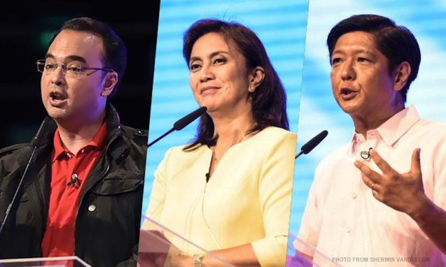 from left: Sen. Alan Peter Cayetano, Rep. Leni Robredo and Sen. Bong bong Marcos; the VP PiliPINAS CNNphil debate was held at the UST Gymnasium last April 10, 2016. Photo from http://cnnphilippines.com/